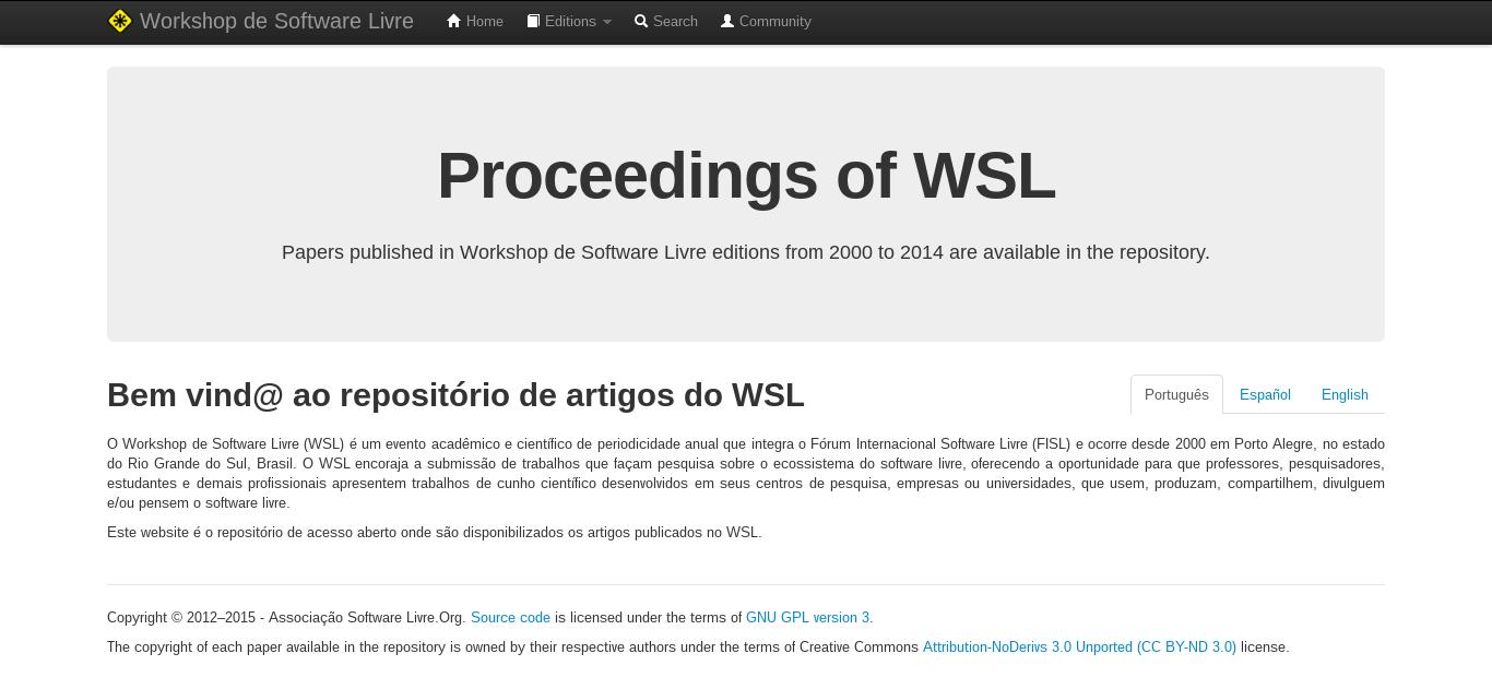 Repositório de Acesso Aberto do WSL – Workshop de Software Livre at